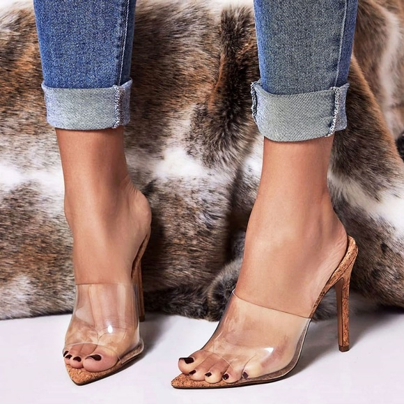 506bd0e335a NEW🔥Clear Peep Toe Cork Stiletto Heel Mule Sandal Boutique